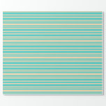 [ Thumbnail: Turquoise and Tan Colored Striped/Lined Pattern Wrapping Paper ]