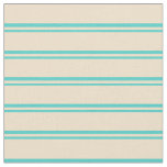[ Thumbnail: Turquoise and Tan Colored Stripes Pattern Fabric ]
