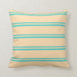 [ Thumbnail: Turquoise and Tan Colored Stripes Pattern Pillow ]
