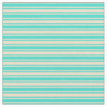 [ Thumbnail: Turquoise and Tan Lined Pattern Fabric ]