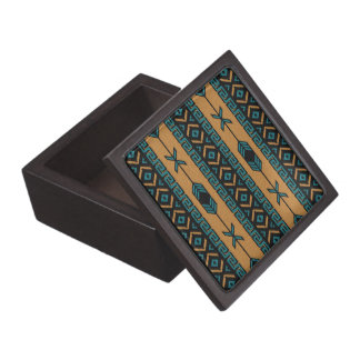 Turquoise And Tan Southwest Aztec Pattern Gift Box