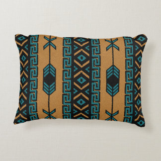 Turquoise And Tan Southwest Tribal Aztec Pattern Accent Pillow