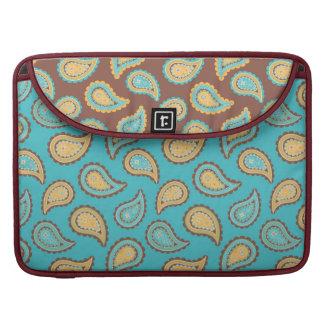 turquoise and taupe paisley pattern MacBook pro sleeve