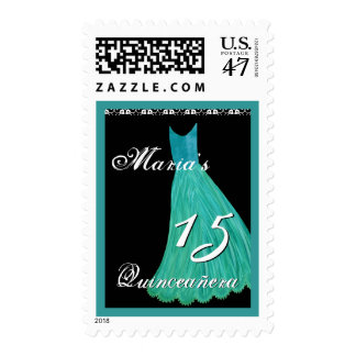 TURQUOISE and TEAL Gown - 15th Quinceanera Postage