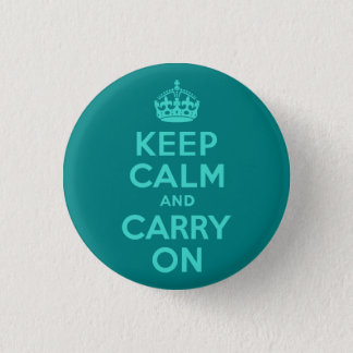 Turquoise and Teal Keep Calm and Carry On Button