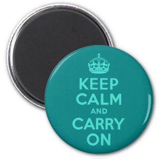 Turquoise and Teal Keep Calm and Carry On Refrigerator Magnets