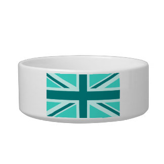 Turquoise and Teal Union Jack 2 Bowl