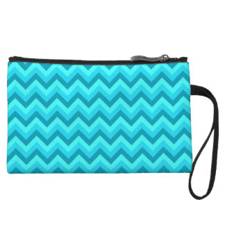 Turquoise and Teal Zigzag Pattern. Wristlet Clutch