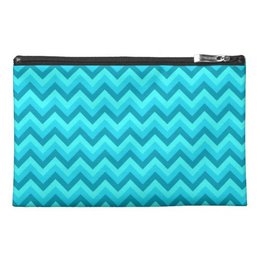 Turquoise and Teal Zigzag Pattern. Travel Accessories Bag