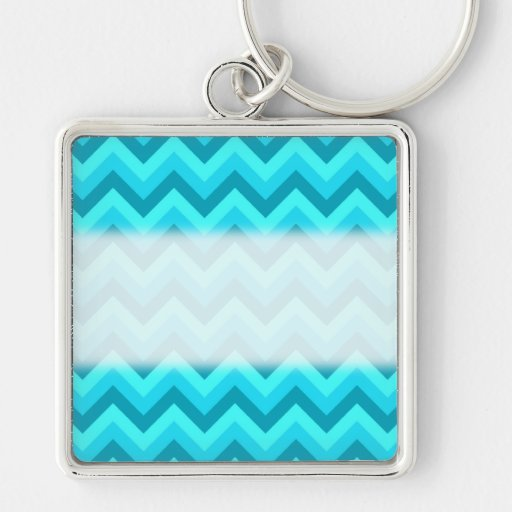Turquoise and Teal Zigzag Pattern. Key Chains