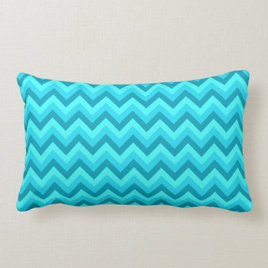 Turquoise and Teal Zigzag Pattern. Lumbar Pillow
