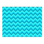 Turquoise and Teal Zigzag Pattern. Post Cards