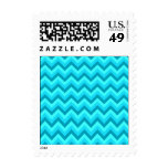 Turquoise and Teal Zigzag Pattern. Stamp