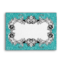 Turquoise and White A7 Gothic Baroque Envelopes