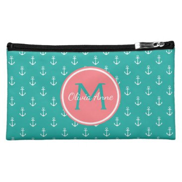 Beach Themed Turquoise and White Anchors With Coral Monogram Makeup Bag