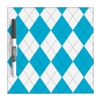 Turquoise and White Argyle Dry-Erase Board