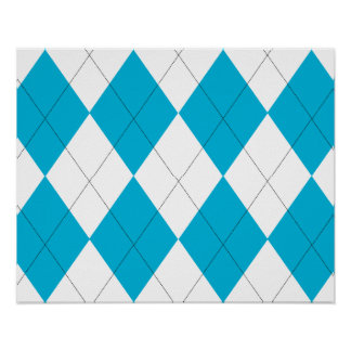 Turquoise and White Argyle Poster