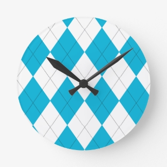 Turquoise and White Argyle Wall Clock