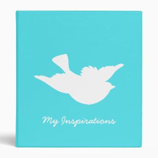 Turquoise and White Bird Silhouette Vinyl Binders