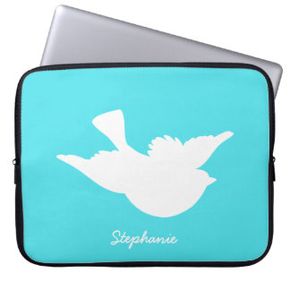 Turquoise and White Bird Silhouette Computer Sleeves