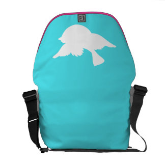 Turquoise and White Bird Silhouette Courier Bag