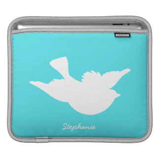 Turquoise and White Bird Silhouette iPad Sleeves
