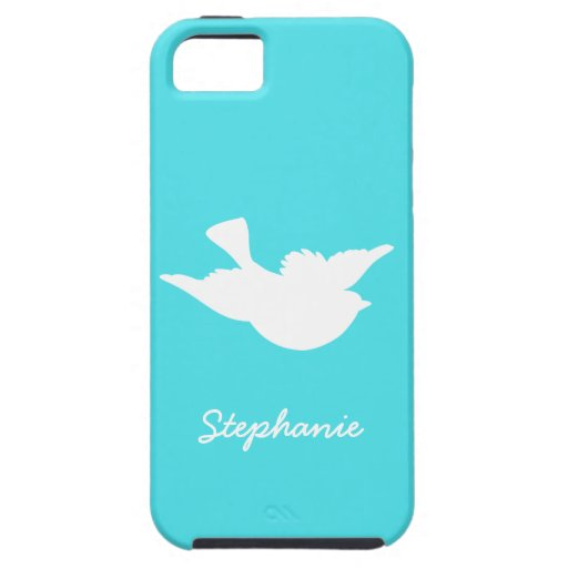 Turquoise and White Bird Silhouette iPhone 5 Cover