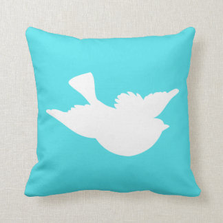 Turquoise and White Bird Silhouette Pillow