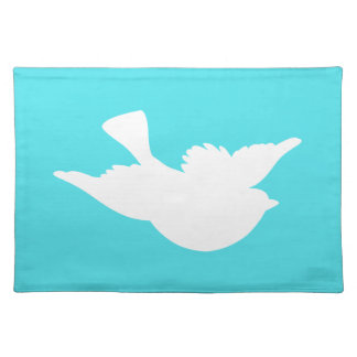Turquoise and White Bird Silhouette Placemat