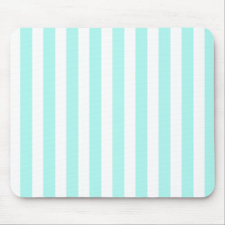 Turquoise and white candy stripes mouse pad