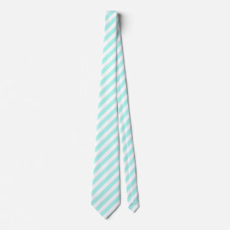 Turquoise and white candy stripes neck tie