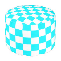 Turquoise and White Checked Pouf