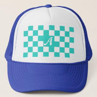Turquoise and White Checkered Monogram Trucker Hat