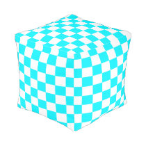Turquoise and White Checkered Pouf