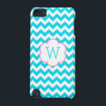 "Turquoise and white chevron monogram iPod touch 5G cover<br><div class=""desc"">Pretty baby colors in a turquoise and white chevron pattern with a white and pink edged flower in the center. Add your initial to this cute case.</div>"