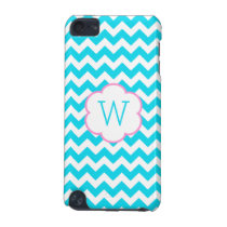 Turquoise and white chevron monogram iPod touch 5G cover