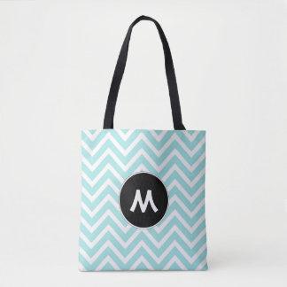 Turquoise and White Chevron Monogram Tote Bag