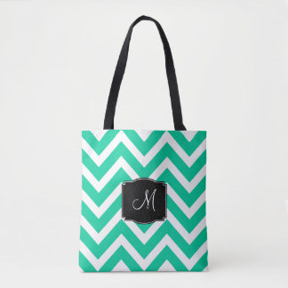 Turquoise and White Chevron Stripes with Monogram Tote Bag