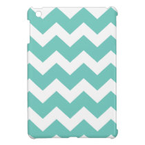 Turquoise and white chevron  zig zag pattern iPad mini case