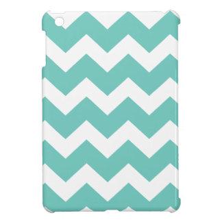 Turquoise and white chevron  zig zag pattern iPad mini cover
