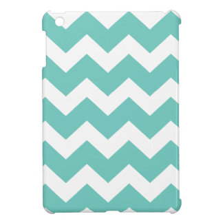 Turquoise and white chevron  zig zag pattern iPad mini covers