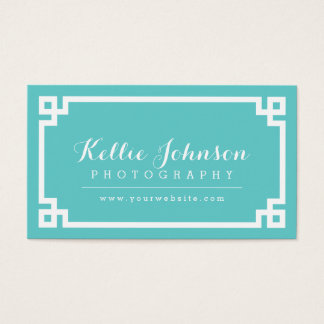 Turquoise and White Chic Greek Key Border Business Card