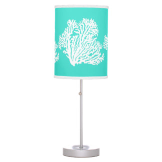 Turquoise And White Coastal Decor Coral Table Lamp