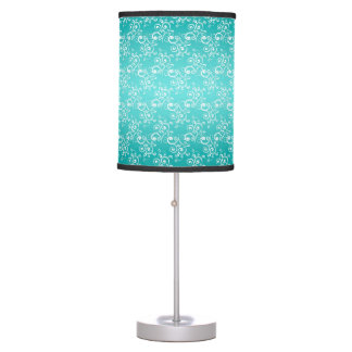 Turquoise and White Curlie Cue Pattern Table Lamps