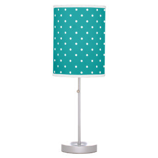 Turquoise and white delicate polka dot desk lamp