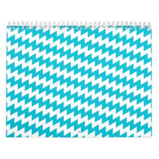 Turquoise and white diagonal chevron calendar
