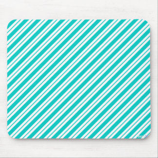Turquoise and White Diagonal Stripes Mousepad