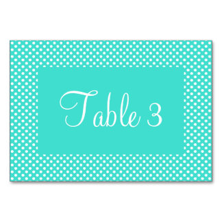 Turquoise and White Dots Numbered Card