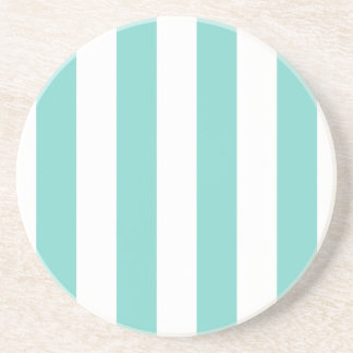 Turquoise and White Extra Large Stripe Pattern Coaster