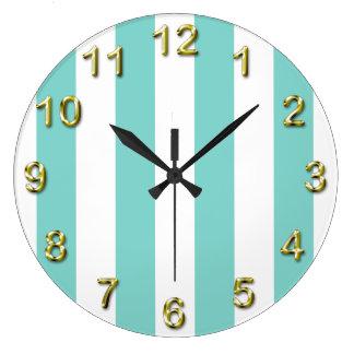 Turquoise and White Extra Large Stripe Pattern Large Clock